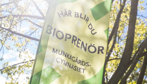 Beachflagga med ordet Bioprenör på.